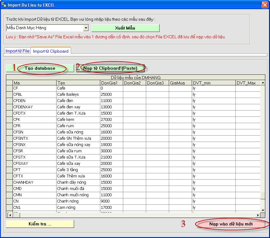 Hướng dẫn nạp dữ liệu từ EXCEL vào phần mềm VQSOFT
